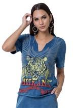 Blusa Jeans Moikana Tigre
