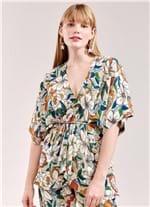 Blusa Kimono Estampa Mediterrânea G