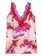 Blusa Less de Seda Floral Rosa Tamanho 38