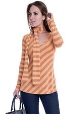 Blusa Listrada com Amarração no Pescoço BL2918 - M