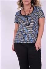 Blusa Listrada com Folhagem Plus Size Azul PP