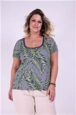 Blusa Listrada com Folhagem Plus Size Verde P