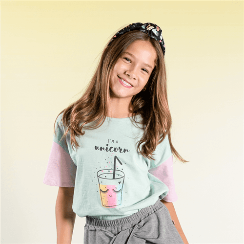 Blusa Love Pizza Menta/14 e 16