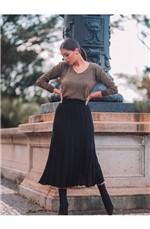 Blusa Lurex Mullet Diva Tricot Preto/Dourado