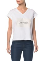 Blusa M/C C Arte Calvin Klein Decote V - Branco 2 - G
