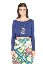 Blusa Malha Decote Costas Azul Profundo - G