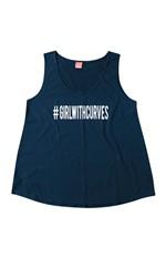 Blusa Malha Estampa Frontal #Girlwithcurves Wee! Azul Escuro - G