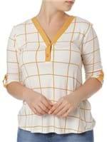 Blusa Manga 3/4 Feminina Autentique Branco/amarelo