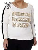 Blusa Manga 3/4 Plus Size Feminina Off White