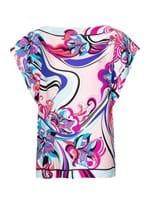 Blusa Manga Curta de Seda Estampada Rosa