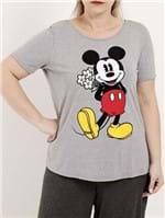 Blusa Manga Curta Plus Size Feminina Disney Cinza