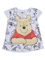 Blusa Manga Curta Winnie The Pooh Infantil para Menina - Branco