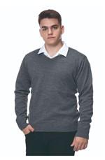 Blusa Masculina Decote V Lisa Tricot M-Chumbo