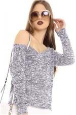 Blusa Mescla com Decote V BL4195 - Kam Bess