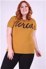 Blusa Mesclada com Silk Plus Size Amarelo M