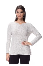 Blusa Mousse Abertura Lateral Tricot Natural Natural
