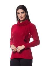 Blusa Mousse Pompom Tricot Vermelha Vermelho