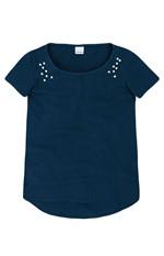 Blusa Mullet com Apliques Malwee Azul Escuro - PP