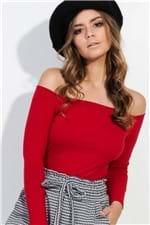 Blusa Ombro a Ombro Canelada Vermelha BL4012 - Kam Bess