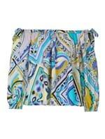 Blusa Ombro a Ombro de Algodão Estampada Azul Tamanho 38