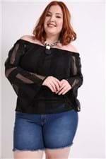 Blusa Ombro a Ombro Detalhe Rede Plus Size Preto 50