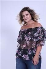 Blusa Ombro a Ombro Floral Plus Size Preto G