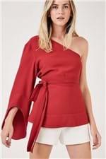 Blusa Ombro Amarração Cintura Vermelho Cereja - 36