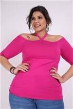 Blusa Ombro de Fora Plus Size Pink G