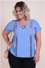 Blusa Plus Size Bubble Azul G