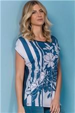 Blusa Realist Estampada Azul e Branco Tam. M