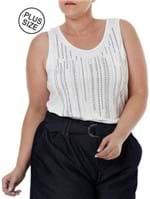 Blusa Regata Plus Size Feminina Autentique Branco