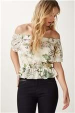 Blusa Seda Elastico Crisantemo Cru Estampado - 38