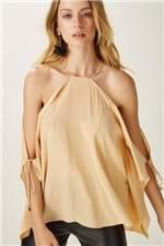 Blusa Seda Ombro Vazado Nude - 40