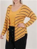 Blusa Sobreposição Plus Size Feminina Autentique Amarelo