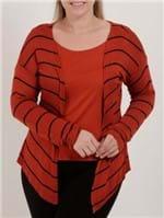 Blusa Sobreposição Plus Size Feminina Autentique Telha