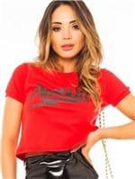 Blusa T-shirt Cropped com Estampa Lettering BL4146 - Kam Bess