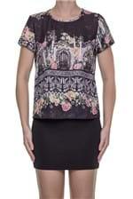 Blusa T-shirt Lança Perfume Gotische Kat - Preto