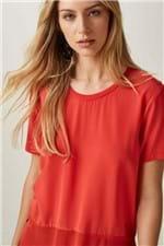 Blusa T-Shirt Mix Tecido Vermelho - 38