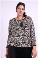 Blusa Tricot Animal Print Plus Size Bege P