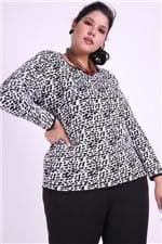 Blusa Tricot Animal Print Plus Size Branco M
