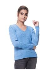 Blusa Tricot Basica de Trança - Azul AZUL