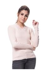 Blusa Tricot Básica Linha e Lycra Rosa Nude