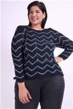 Blusa Tricot Detalhe Metalizado Plus Size Azul Marinho P