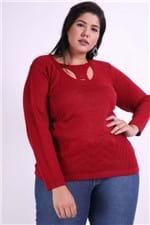 Blusa Tricot Detalhe no Decote Plus Size Vermelho P