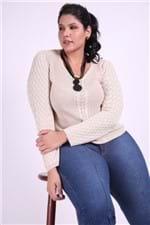 Blusa Tricot Feminina Plus Size Bege P
