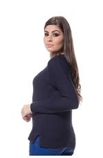 Blusa Tricot Friz na Frente Enas Mangas - Marinho MARINHO