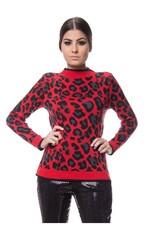 Blusa Tricot Onça Animal Print - Vermelho VERMELHO
