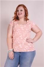 Blusa Viscolycra Estampada Plus Size Rosa P