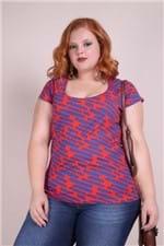 Blusa Viscolycra Estampada Plus Size Vermelho P