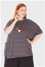 Blusão Quadrado Listrado Plus Size Preto-Único
